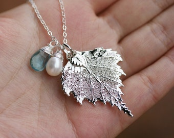 Birch Leaf Necklace,custom birthstone,Mother jewelry,gift for mother,Grandmother giftm,Bridesmaid gifts,Wedding Jewelry,Family birthstone