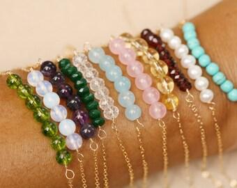 Gemstone bar bracelet,beaded birthstone bar bracelet,Delicate Gemstone Bar bracelet,birthstone bracelet,silver or gold or rose gold