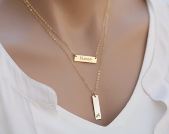Set of two,Personalized  bar necklace,Initial Name Plate Contemporary Bridesmaid's jewelry, Initial Rectangle necklace,Initial Necklace