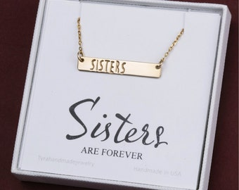Sister gift,sister in law gift,bar Initial necklace,monogram jewelry,Personalize necklace,Monogram Necklace,Bridesmaid's jewelry,note card