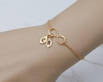 Gold Infinity initial bracelet,leaf Initial bracelet,custom Monograms,friendship bracelet,couple initial bracelet,sisterhood,bridesmaid gift