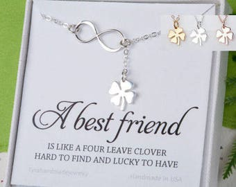 Four leaf clover Infinity Lariat Y necklace,shamrock necklace,Infinity shamrock,Best friend gift,St Patricks Day gift,sisterhood,lucky charm