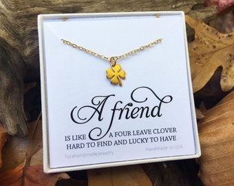 Four leaf clover necklace,shamrock necklace,custom message card,St patrick's day,Best friend gift,graduation gift,sisterhood,birthday gift