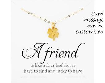 Four leaf clover necklace,shamrock necklace,St.patrick's day, shamrock pendant,Best friend gift,graduation gift,sisterhood,birthday gift