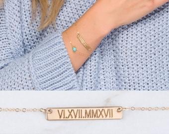 Personalized bar bracelet,Initial Bar bracelet,custom birthstone,Roman date bar bracelet,custom font engraving,bridesmaid gift,birthday gift