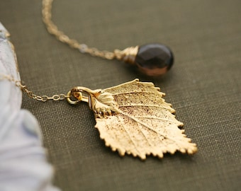 Real birch leaf necklace,custom birthstone necklace,personalized bridesmaid gift,fall autumn wedding jewelry,birthday gift,custom note cards