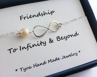 Infinity Necklace,friendship to infinity,Message card,eternity infinity,bridesmaid gifts,sisterhood,Friendship,Bridesmaid gifts