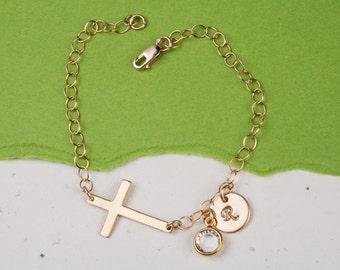 Sideways cross charm bracelet,Monogram initial nameplate bracelet,Custom bracelet,blessing,God mother gift,Mother's day gift,mother in law