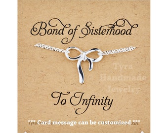Bow infinity bracelet,silver or gold,Mother gift,mother of bride gift,wedding jewelry,mother's day gift,Mother in law gift,custom note card