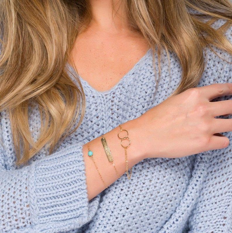 Gemstone bar bracelet set,Bar bracelet layering set,birthstone and bar bracelet,date,coordinates,name bar,double side engraving,