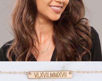Engraving bar necklace,Silver or Gold or rose gold,Coordinate name date bar necklace,Initial Rectangle necklace,Bridesmaid gifts