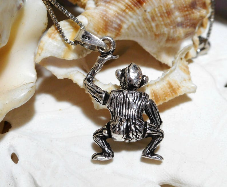 Sterling Silver 3D Movable X Rated Monkey Pendant w 18 Box Chain 5.66g