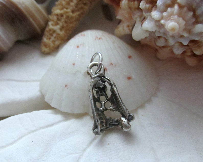 Sterling Silver tiny Christmas Bell Charm Pendant 3D .87g