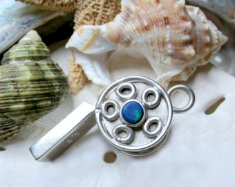 Taxco Sterling Silver Working Whistle Pendant w Azurite 13.07 grams