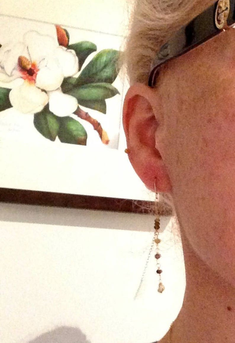 Single Threader Earring 14k solid yellow rose gold Birthstone Tourmaline Keshi Pearl Dangle Earrings Modern Edgy Women Stackable Piercing