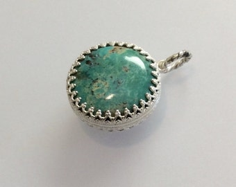 Sterling Silver Round Turquoise Cabochon Double Sided Pendant Lacy Bezel