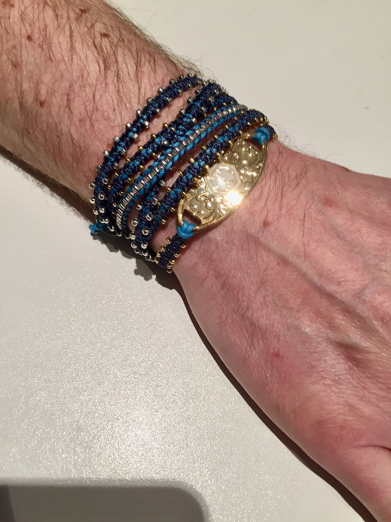 Style Up your Medical ID tag with Lengths of Beaded Macrame Stitches Vegan Cord Yoga Bracelet Wrist Wrap Soft Stackable Stylish