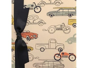Baby Memory Book (tight bound) - Retro Rides, baby record book, baby shower gift, new baby gift