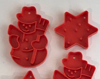 Christmas Cookie Cutters Snowman and Star  1970s Era LTTC Red Plastic Cookie Cutter  L.T.T.C.