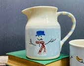Hartstone Pottery, Snow People Pitcher 6 quot tall, 24 Oz Winter Dining Serving Snowman Pottery