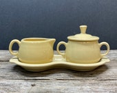 Fiesta Yellow Cream and Sugar Set with Tray, Fiestaware, HLC, Homer Laughlin China, complete 4 piece set