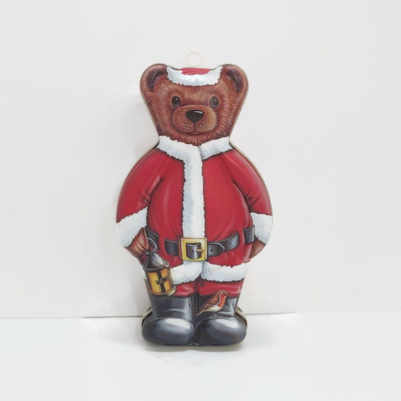 Santa Bear Collectible Character Tin 1994 Department 56 Vintage Christmas Bear Tin