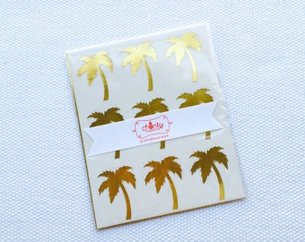 Gold Foil Palm Tree Sticker / Labels
