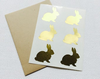 Bunny Stickers / Labels in Gold Foil or Kraft