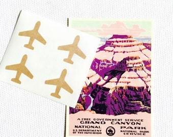 Airplane Stickers / Labels - Gold foil or Kraft