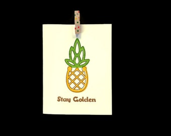 Stay Golden Greeting Card (Gocco printed)