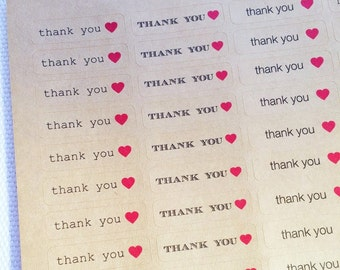 Thank You with Heart Stickers / Labels