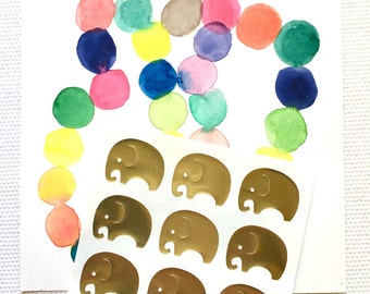Gold Foil Elephant Stickers / Labels