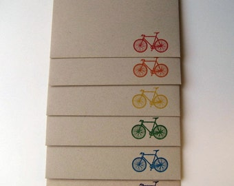 Gocco Printed Bicycle Envelopes (Rainbow 6 Pack)
