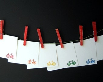Gocco Printed Bicycle Notecards (Rainbow 6 pack)