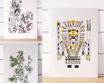 Sun God Series - One Gocco Printed Illustration (5 x 7 inch)