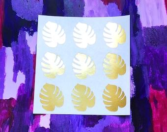 Gold Foil Monstera Leaf Stickers / Labels