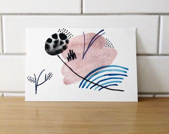 Abstract Watercolor Postcard - One of a Kind