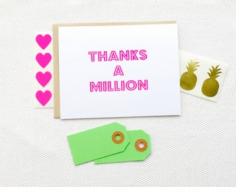Thanks a Million Card (Gocco printed)