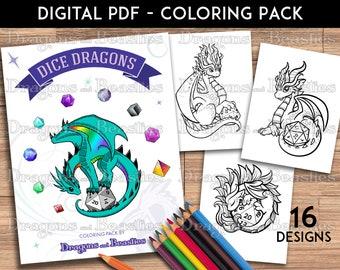 Color Pack Dice Dragons -  Kids / Adult Coloring Pages - Cute Printable Fantasy Art  - Digital Coloring Book