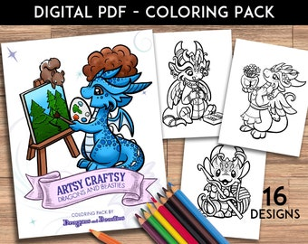 Color Pack Artsy Craftsy Dragons and Beasties-  Kids / Adult Coloring Pages - Cute Printable Fantasy Art  - Digital Coloring Book