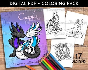 Color Pack Cute Couples -  Kids / Adult Coloring Pages - Cute Printable Fantasy Art  - Digital Coloring Book