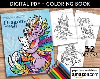 Dragons with Pets Coloring Book -  Kids / Adult Coloring Pages - Cute Printable Fantasy Art  - Digital Coloring Book - Dragons and Beasties