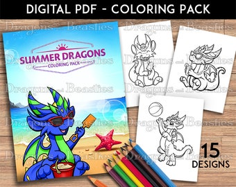 Color Pack Summer Dragons -  Kids / Adult Coloring Pages - Cute Printable Fantasy Art  - Digital Coloring Book