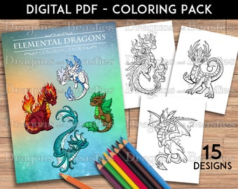 Color Pack Elemental Dragons -  Kids / Adult Coloring Pages - Cute Printable Fantasy Art  - Digital Coloring Book