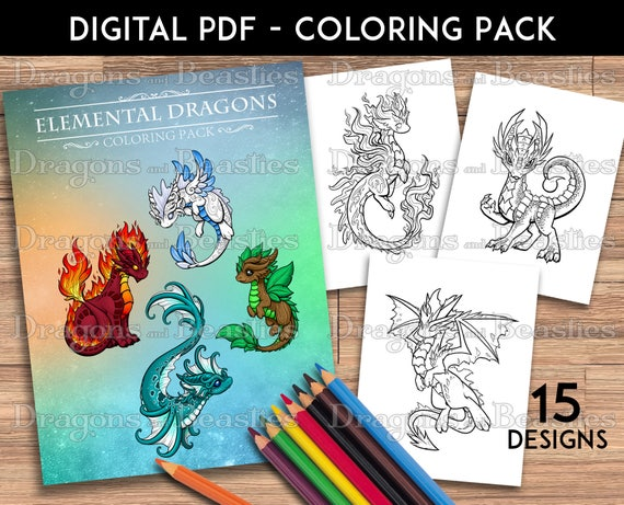 Color Pack Elemental Dragons Kids / Adult Coloring Pages | Etsy