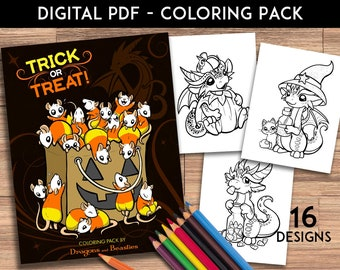 Color Pack Trick or Treat - Kids / Adult Coloring Pages - Cute Printable Fantasy Art  - Digital Coloring Book