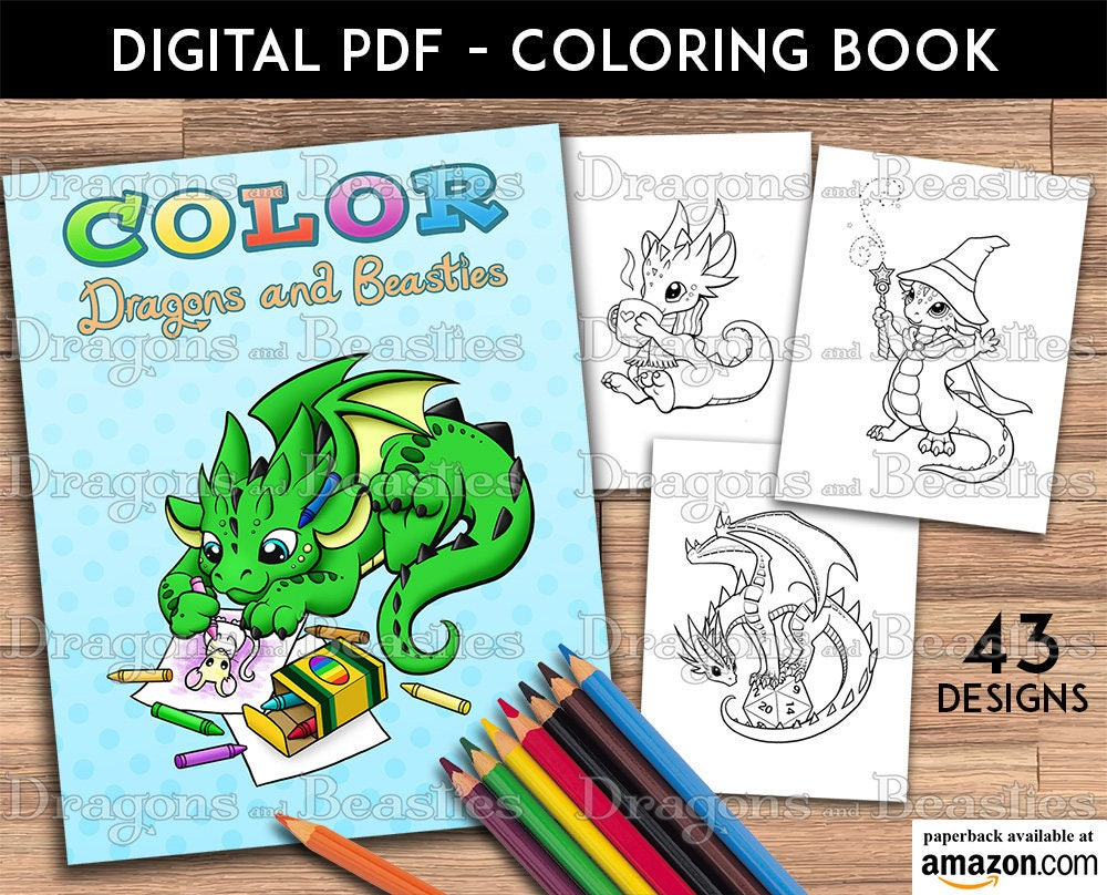 Color Dragons and Beasties Kids / Adult Coloring Pages | Etsy