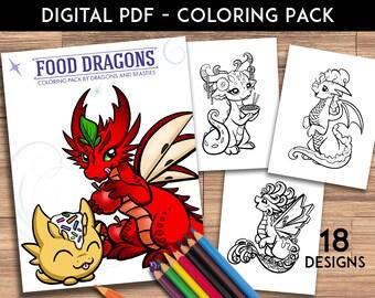 Color Pack Food Dragons - Kids / Adult Coloring Pages - Cute Printable Fantasy Art  - Digital Coloring Book