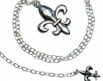 """Fleur de Lis Pendant - All Sterling Silver - 24"""" Inch Chain - Vintage Style Necklace - Free Shipping"""