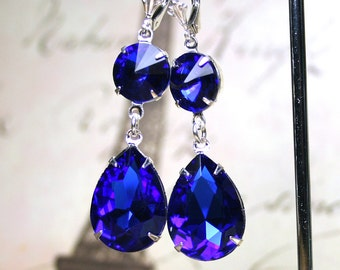 Long Vintage Sapphire Blue Earrings - Royal Blue and Silver Earrings - Sterling Silver Lever Backs - Free Shipping